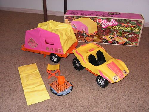 1973 BARBIE GOIN' CAMPING SET #8869 W/BOX VW BREEZY BUGGY TENT TRAILER