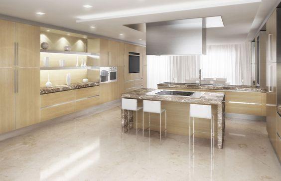 rendering grande cucina con isola centrale