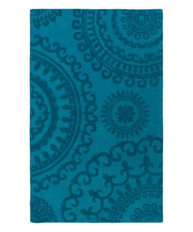 Another great find on #zulily! Teal Wool Pollack Sloane Rug #zulilyfinds