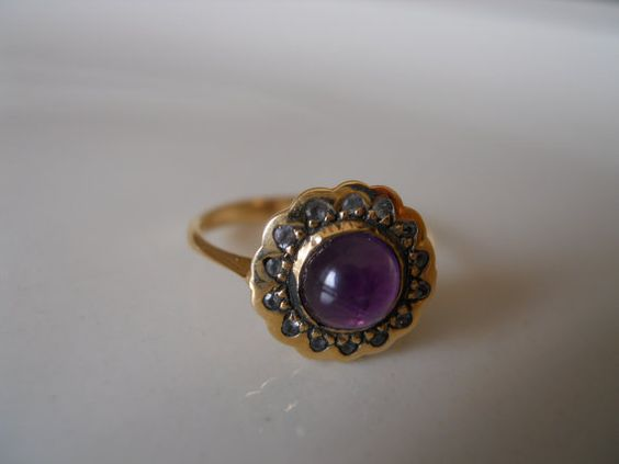 Love this and my birthstone too! Antique 14K Gold Amethyst Cabechon and Diamond by barbarasjewelbox,