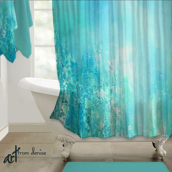 Teal blue aqua gray shower curtain abstract art for Teal and grey bathroom sets