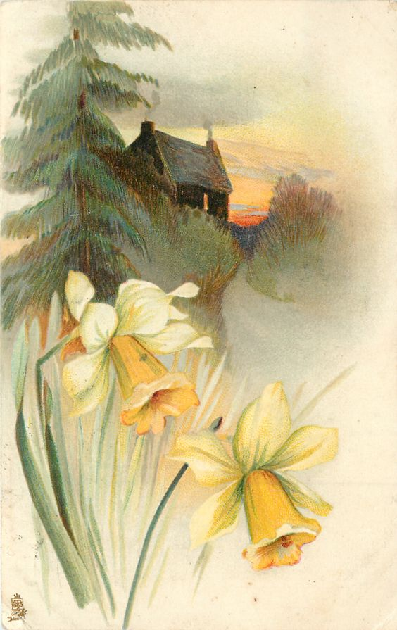 two daffodils, house with two chimneys upper center