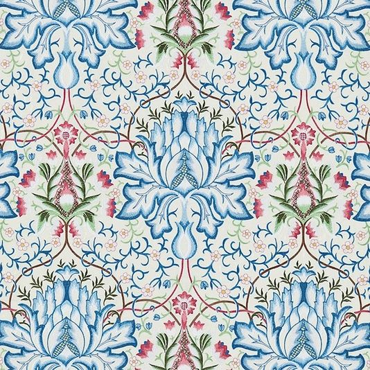 Artichoke Embroidery Fabric An exquisite embroidered silk with large scale traditional motifs shown in blues, pinks and greens on an ivory ground. The design is inspired by William Morris' own design Artichoke from 1877, and illustrates his preoccupation and love of near Eastern and Italian woven silks and velvets.