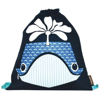 Sac à dos enfant maternelle en coton bio motif baleine / Kids backpack for…