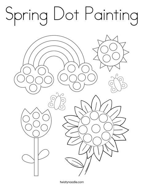 Spring Dot Painting Coloring Page Twisty Noodle In 2020 Dot Painting Coloring Pages Spring Coloring Pages