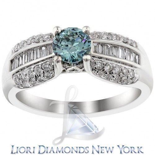 1.55 Carat Fancy Blue Diamond Engagement Ring 14K White Gold Vintage Style - Fancy Color Engagement Rings - Engagement - Lioridiamonds.com
