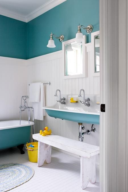 Cottage Chic: House and Home Lakeside Bathroom love the color!!: Bathroom Color, Wall Color, Double Sink, Bathroom Idea, White Bathroom, House Idea