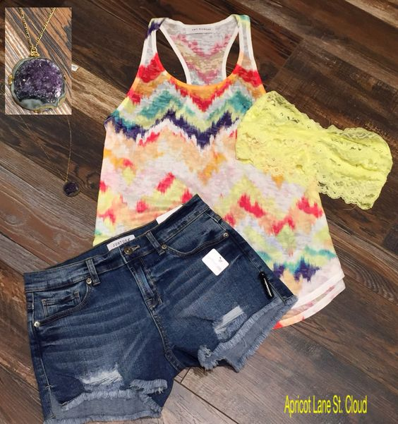 The Bright Side #TBS6063 Who doesn't need a colorful, fun, casual, and lightweight tank top for summer? No one! Everyone needs one of these tanks in their lives. Tank: $24 Yellow Lace Bandeau: $22 Shorts: $42 Necklace: $30 To add this must have outfit to your closet, fill out this form at http://form.jotform.us/form/42265697798173. For immediate assistance call us at 320-774-1533! We ship nationwide!