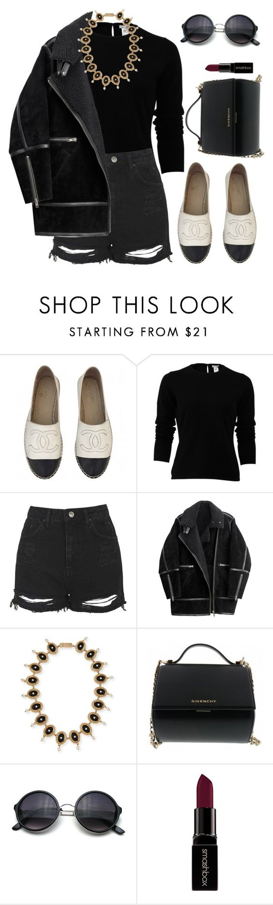 """""""Untitled #1820"""" by lauraafreedom ❤ liked on Polyvore featuring Chanel, Oscar de la Renta, Topshop, H&M, Givenchy, Smashbox, women's clothing, women's fashion, women and female"""