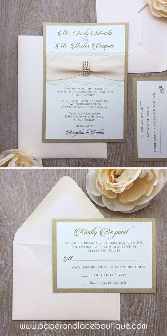 SUEDY - Glamour Lace Wedding Invitation - Blush and Gold Invitation with Ivory Lace and Gold Rhinestone Embellishment