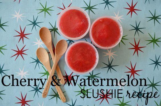 Cherry and Watermelon Slushie Recipe - refreshing treat for baby! #babyfood