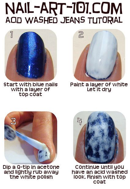 I wanted camo nails so badly for my hunting trip. Green, Brown, Beige & this process would have been spot on! Acid wash nails tutorial http://www.nail-art-101.com/acid_wash_nails.html