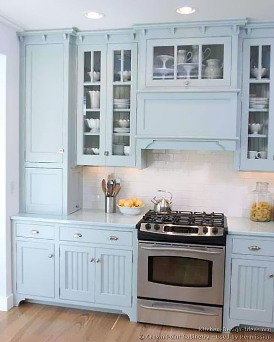 Traditional Blue Kitchen Cabinets #03 (Crown-Point.com