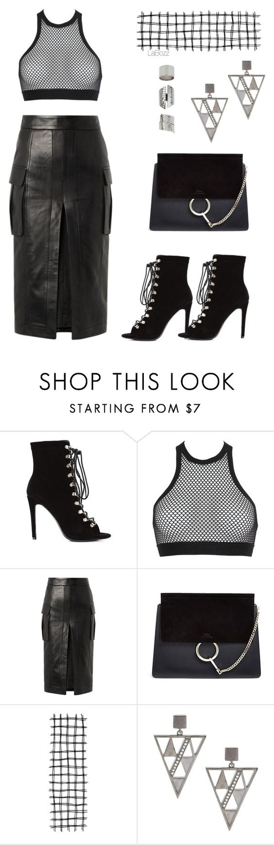 """Bl,ck"" by labozz ❤ liked on Polyvore featuring Dsquared2, Balmain, Chloé and ADORNIA"