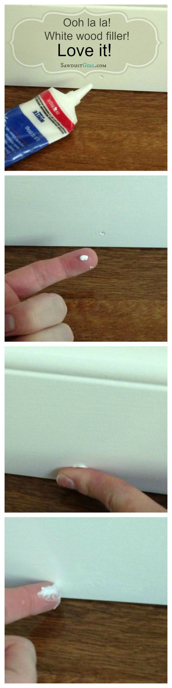 Filling nail holes in trim molding with white wood filler