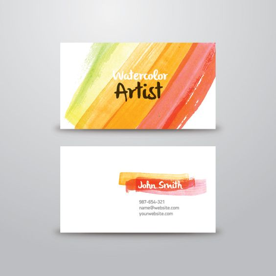 Watercolor Artist Business Card Vector Graphic — business card, identity, template, colorful, brushes, painter, mockup, paint, brush, art: