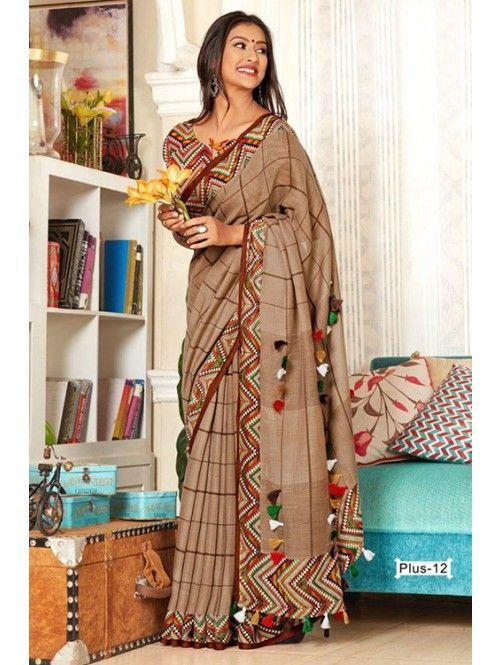 cotton silk wedding party wear saree tussles