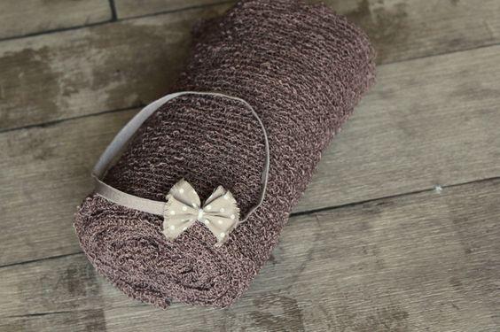 Set Stretch Wrap + Haarband nougat Babyfotografie  von favorite style auf DaWanda.com