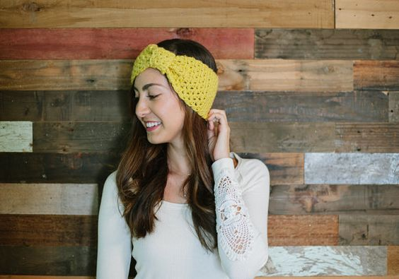 This sunny crocheted ear warmer can be custom-made in the color of your choice. #etsygifts #etsyfinds
