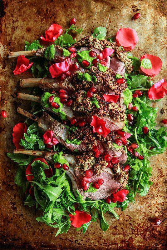 Pumpkin Seed Crusted Rack of Lamb with RAugula Pesto