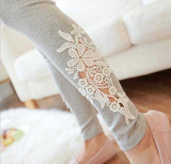 Damen Spitze Blume aushöhlen Design Frauen Mode Sommer Hosen & Caprihosen Stretch Legging Hosen