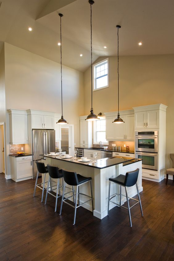 High Ceiling Lighting old mill lane kitchen - l-shaped breakfast bar, high ceilings