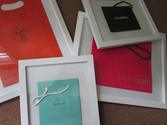 diy framed shopping bags. Design Megillah: Decorating a Fasionista's Apartment