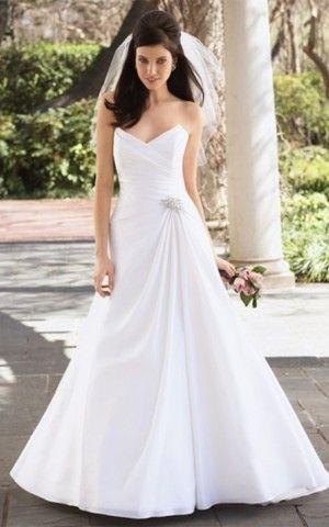 großes Bild 1 Herz-Ausschnitt Modern einfaches Brautkleid mit natürlicher Taille aus Chiffon