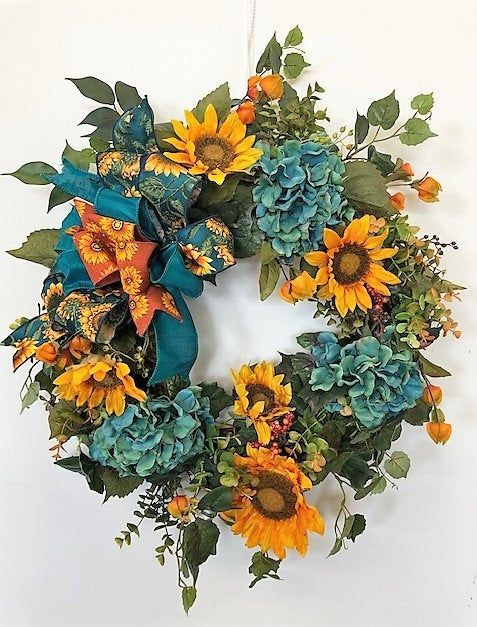 Teal Hydrangea With Gold Sunflowers Fall Silk Floral Front Door Wreath Fall Wreath Autumn Wreath Fall D In 2020 Door Wreaths Fall Fall Wreath Fall Grapevine Wreaths