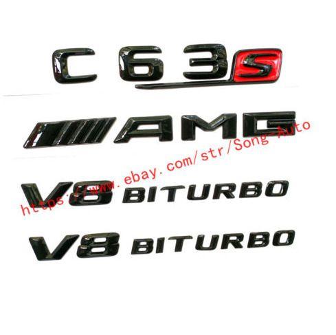 "2pc 3D Gloss Black /"" V8 BITURBO /""Trunk Badge Emblem Sticker for Mercedes-Benz"