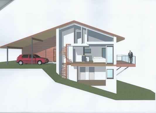Besoin d 39 avis sur esquisses pour maison sur terrain en for Plan maison en pente