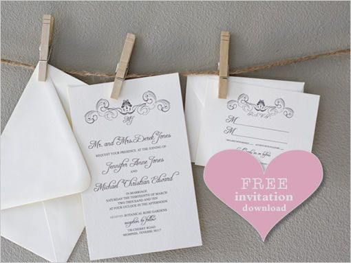 Swirl Free Wedding Monogram Downloads – Wedding Invitations with Free Response Cards