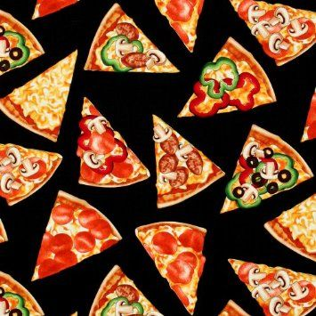 Cotton fabric with pizza print pizza pizza pinterest for Space pizza fabric