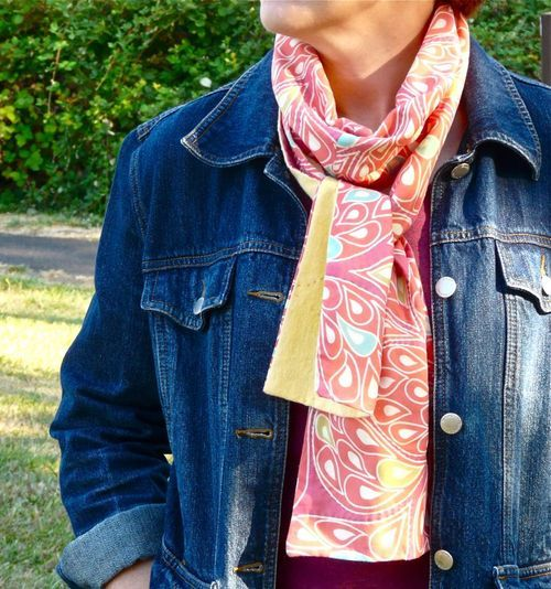 Tutorial: Make a voile and flannel autumn scarf