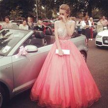 A-linie Tüll Scoop Ausschnitt Prom Kleider Glänzende Perlen Sheer bodenlangen Abendkleider Pageant Kleid vestido de festa longo //Price: $US $139.00 & FREE Shipping //     #eveningdresses