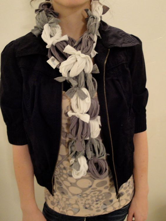 Recycled Material Grey and White Fashion scarf $27.00