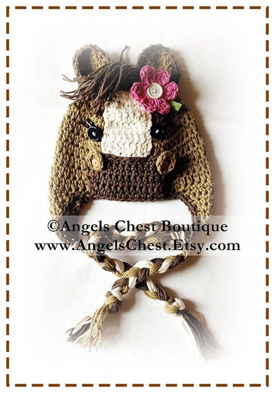 PONY HORSE Crochet Hat Earflap Pattern Size Newborn to Adult ...