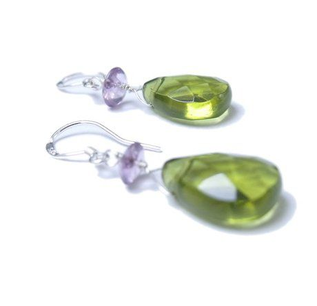 Shoply.com -Blueberry and Mint Sterling Silver Earrings - amethyst and olive quartz