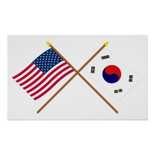 Us And South Korea Crossed Flags Poster Zazzle Com In 2020 Cross Flag South Korea Flag Flag