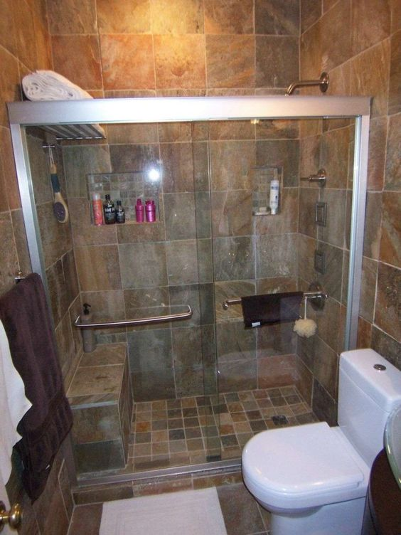Ideas for small bathrooms shower doors and flooring ideas for Rubber flooring bathroom ideas