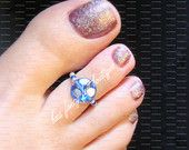 Toe Ring - Aqua Blue Glass - Stretch Bead Toe Ring