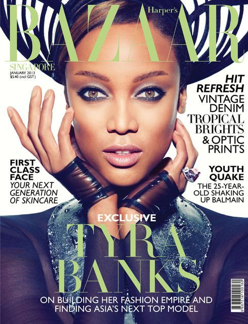 On the Cover: Tyra Banks for Harper's Bazaar Singapore January 2013