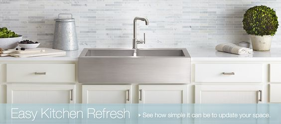 Sinks, Stainless steel farmhouse sink and Marble mosaic on Pinterest