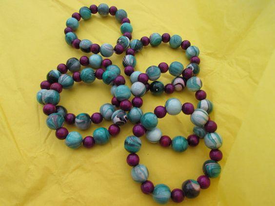 Elastic Band Bracelet Turquoise Wine Colors by BeaderBubbe on Etsy, $8.00