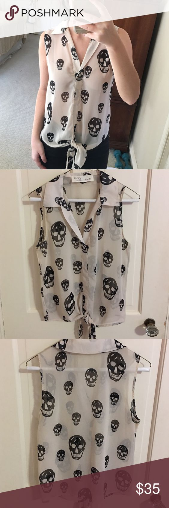 Vintage Havana skull tie tank Great condition skill tie tank with no pulls or stains! The top doesn't have buttons, but skips over your head. Top doesn't have size on it, but fits like a small! Vintage Havana Tops Blouses