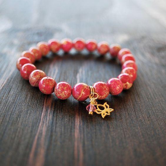 • Pink Jasper Bracelet - Womens Lotus Flower Bracelet - Mala Bracelet for Women - Womens Yoga Bracelet - Womens Beaded Bracelet - Lotus & Lava