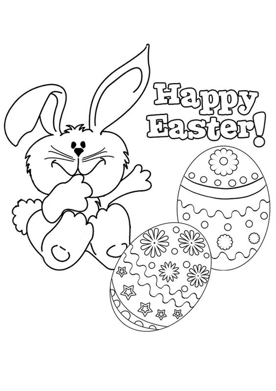 Free Online Happy Easter 2 Colouring Page