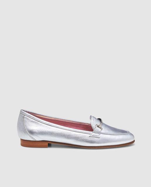 Mujer Zapatos Planos Mocasines Castellanos GEOX Plata