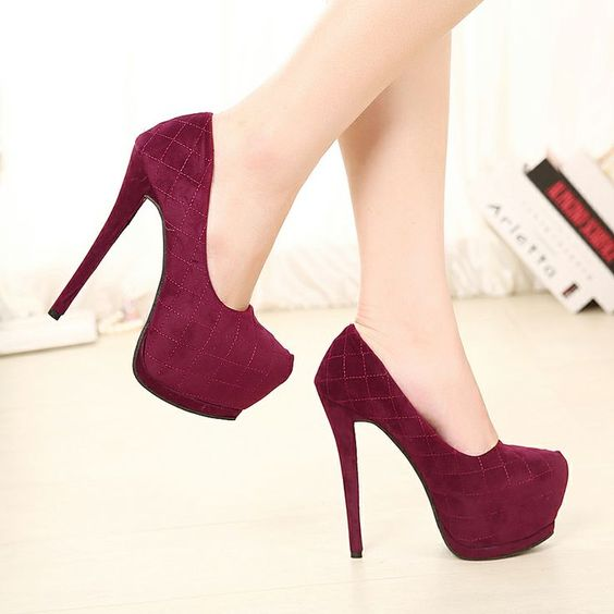 dark purple pump cloth fabric high heel closed toe | want these ...