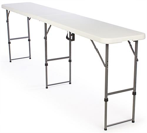 8 5 Folding Table Height Adjustable White In 2020 Folding Table Adjustable Table Long Folding Table